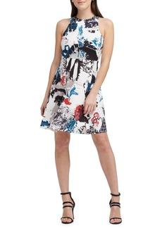 DKNY Donna Karan Mixed-Print Sleeveless Fit-and-Flare Dress