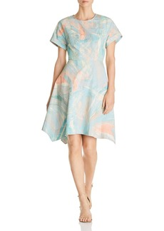 DKNY Donna Karan New York Brushstroke Print Fit-and-Flare Dress