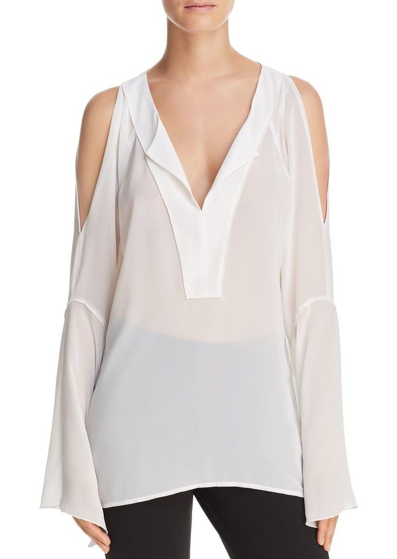 23e280fe1c1b74 On Sale today! DKNY Donna Karan New York Cold-Shoulder Chiffon Top
