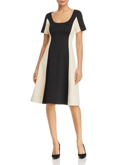 Donna Karan New York Color-Block Flared Scuba Dress