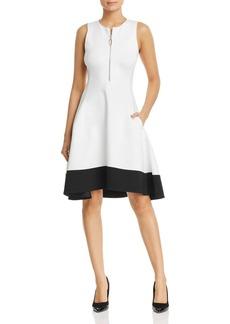 DKNY Donna Karan New York Color Block Zip-Front Dress
