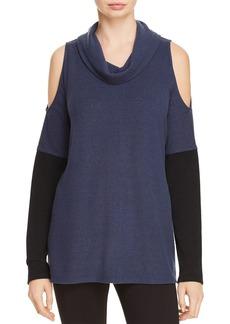 DKNY Donna Karan New York Color Blocked Cold-Shoulder Sweater