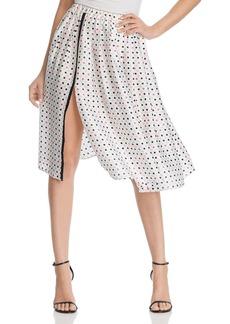 DKNY Donna Karan New York Dot Print Pleated Skirt