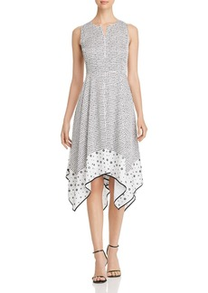 DKNY Donna Karan New York Dotted Handkerchief-Hem Dress