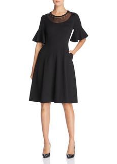 DKNY Donna Karan New York Embellished Mesh-Neck Dress
