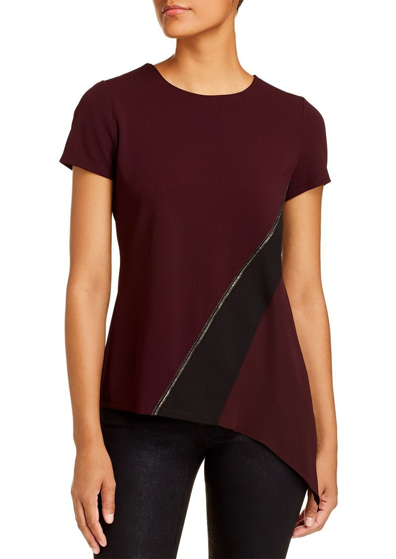 DKNY Donna Karan New York Embellished Mixed-Media Top