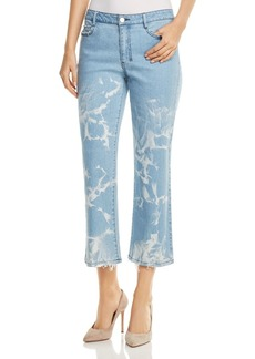 DKNY Donna Karan New York Faded Cropped Flare Jeans in Retro Mid Rinse