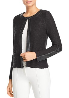 DKNY Donna Karan New York Faux Leather Trim Cardigan