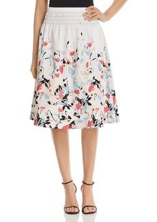 DKNY Donna Karan New York Floral-Print Smocked-Waist Skirt
