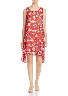 DKNY Donna Karan New York Floral Sharkbite-Hem Shift Dress