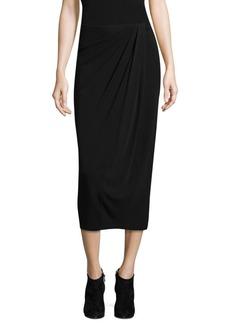 DKNY High-Rise Wrap Midi Skirt