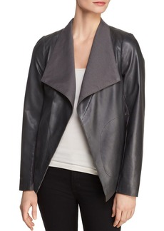 Donna Karan New York Icons Leather Drape-Front Jacket