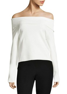DKNY Knit Foldover Off-The-Shoulder Sweater