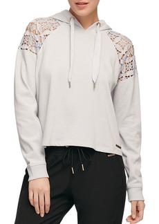 DKNY Donna Karan New York Lace-Paneled Hooded Sweatshirt