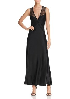 DKNY Donna Karan New York Lace-Top Satin Maxi Dress