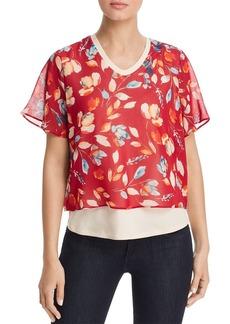DKNY Donna Karan New York Layered Floral-Print Top