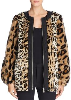 DKNY Donna Karan New York Leopard Print Faux Fur Coat