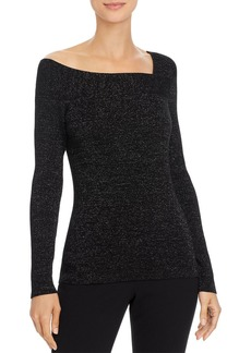 DKNY Donna Karan New York Metallic Asymmetric-Neck Sweater