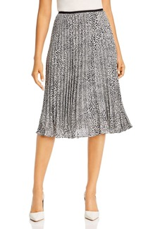 DKNY Donna Karan New York Pleated Leopard-Print Midi Skirt