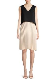 DKNY Donna Karan Popover Pleated Skirt Shift Dress
