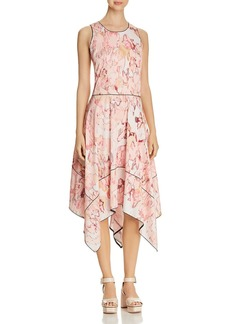 DKNY Donna Karan New York Print Handkerchief-Hem Midi Dress