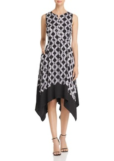 DKNY Donna Karan New York Printed Handkerchief-Hem Dress