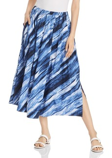 DKNY Donna Karan New York Printed Pleated Midi Skirt