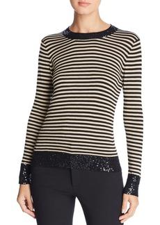 DKNY Donna Karan New York Sequin-Trimmed Stripe Sweater
