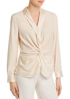 DKNY Donna Karan New York Silk Blend Twist-Front Top