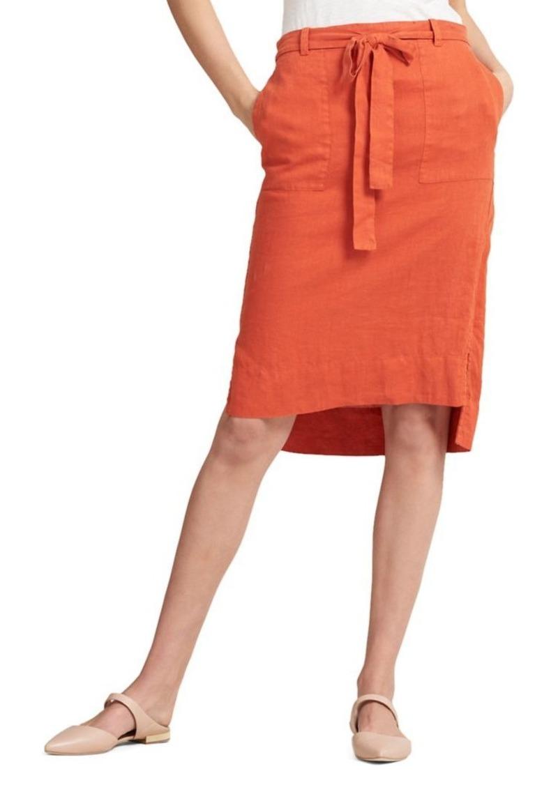8a37951f4e65 DKNY Donna Karan Terra Tie Waist Linen Knee-Length Skirt | Skirts