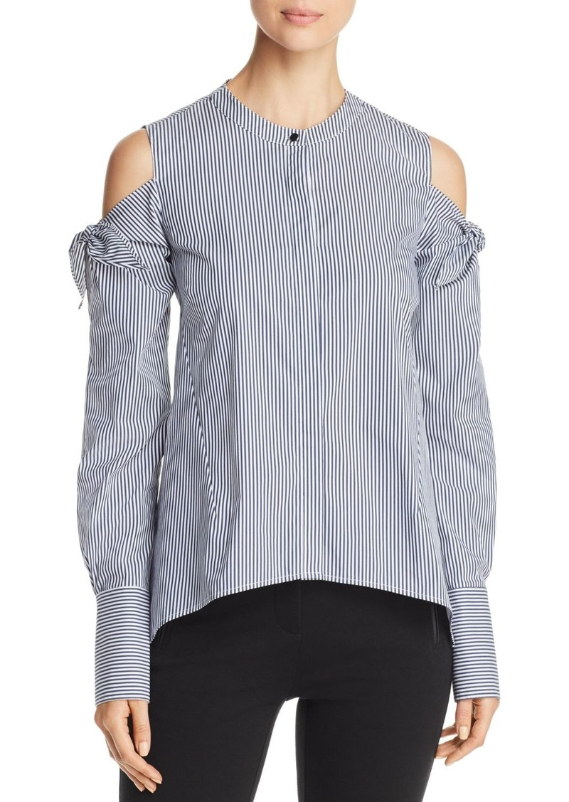 24b856eb7701e8 DKNY Donna Karan New York Tie Cold Shoulder Stripe Blouse