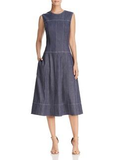 Donna Karan New York Topstitched Fit-and-Flare Denim Dress