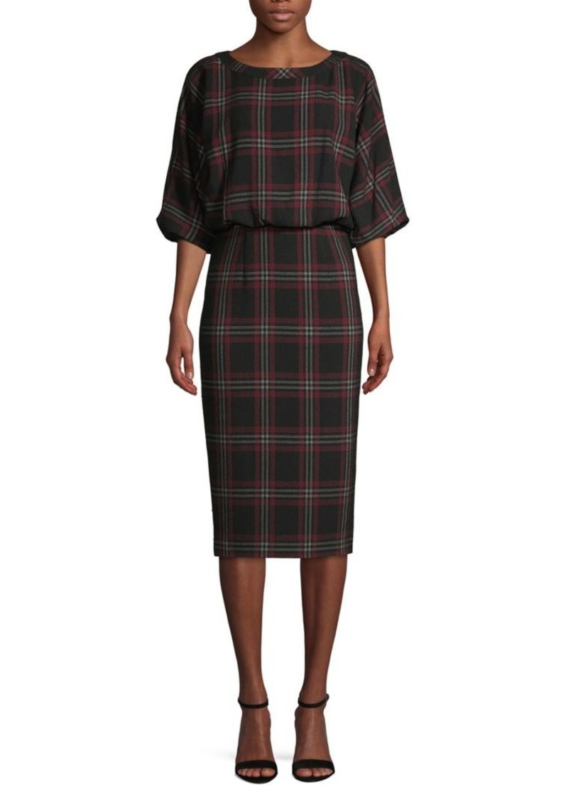 DKNY Donna Karan Plaid Blouson Dress