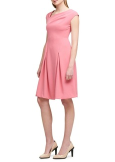 Donna Karan Pleated Asymmetrical Fit-&-Flare Dress