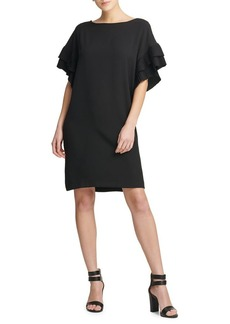 DKNY Donna Karan Pleated Sleeve Shift Dress