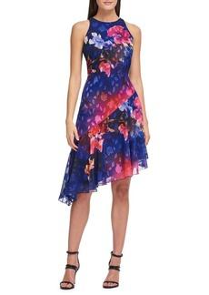 DKNY Donna Karan Printed Asymmetric Hem Sleeveless Dress