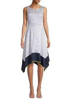 DKNY Donna Karan Printed Asymmetric Midi Dress