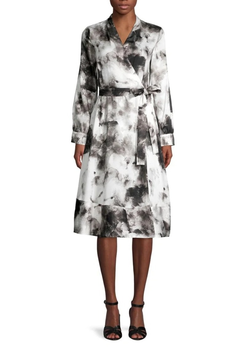 DKNY Donna Karan Printed Belted Midi Dress