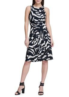 DKNY Donna Karan Printed Fit-and-Flare Dress