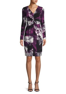 DKNY Donna Karan Printed Knot Shift Dress