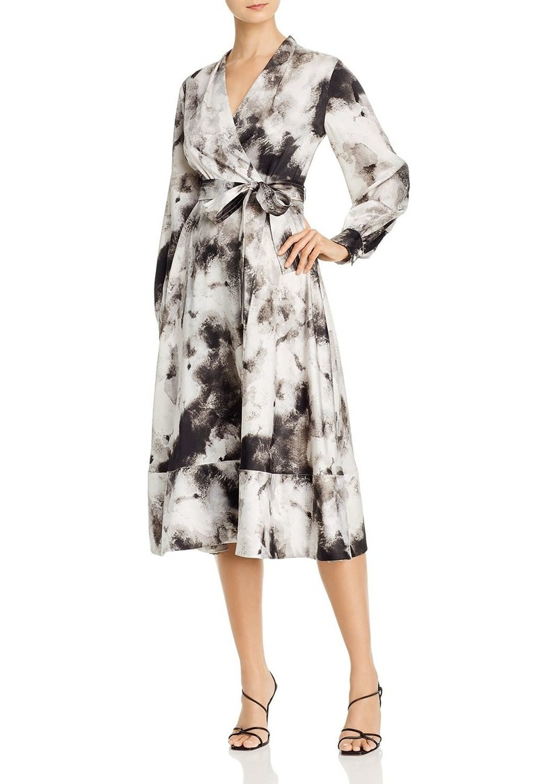 DKNY Donna Karan Printed Midi Wrap Dress