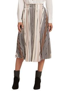 DKNY Donna Karan Printed Pleated Skirt