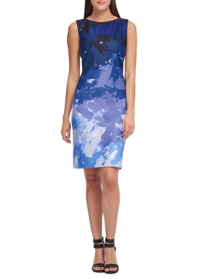104982c99f3 DKNY Donna Karan Printed Sleeveless Sheath Dress