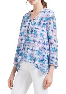 DKNY Donna Karan Printed Three-Quarter Sleeve Blouse