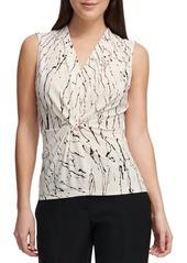 DKNY Donna Karan Printed V-Neck Sleeveless Top