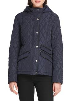DKNY Donna Karan Quilted Hooded Slim-Fit Jacket