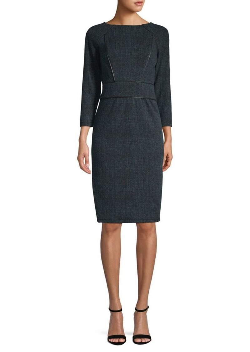 DKNY Donna Karan Raglan Sleeve Faux Leather Trim Sheath Dress
