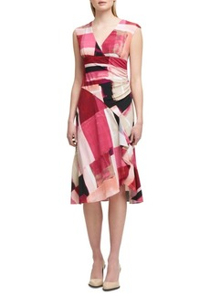 DKNY Donna Karan Ruched Collage Drape Dress
