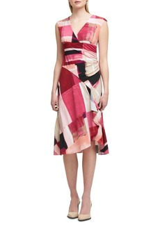 DKNY Donna Karan Ruched Collage Drape Dress