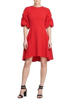 DKNY Donna Karan Ruched-Sleeve Fit-&-Flare Dress